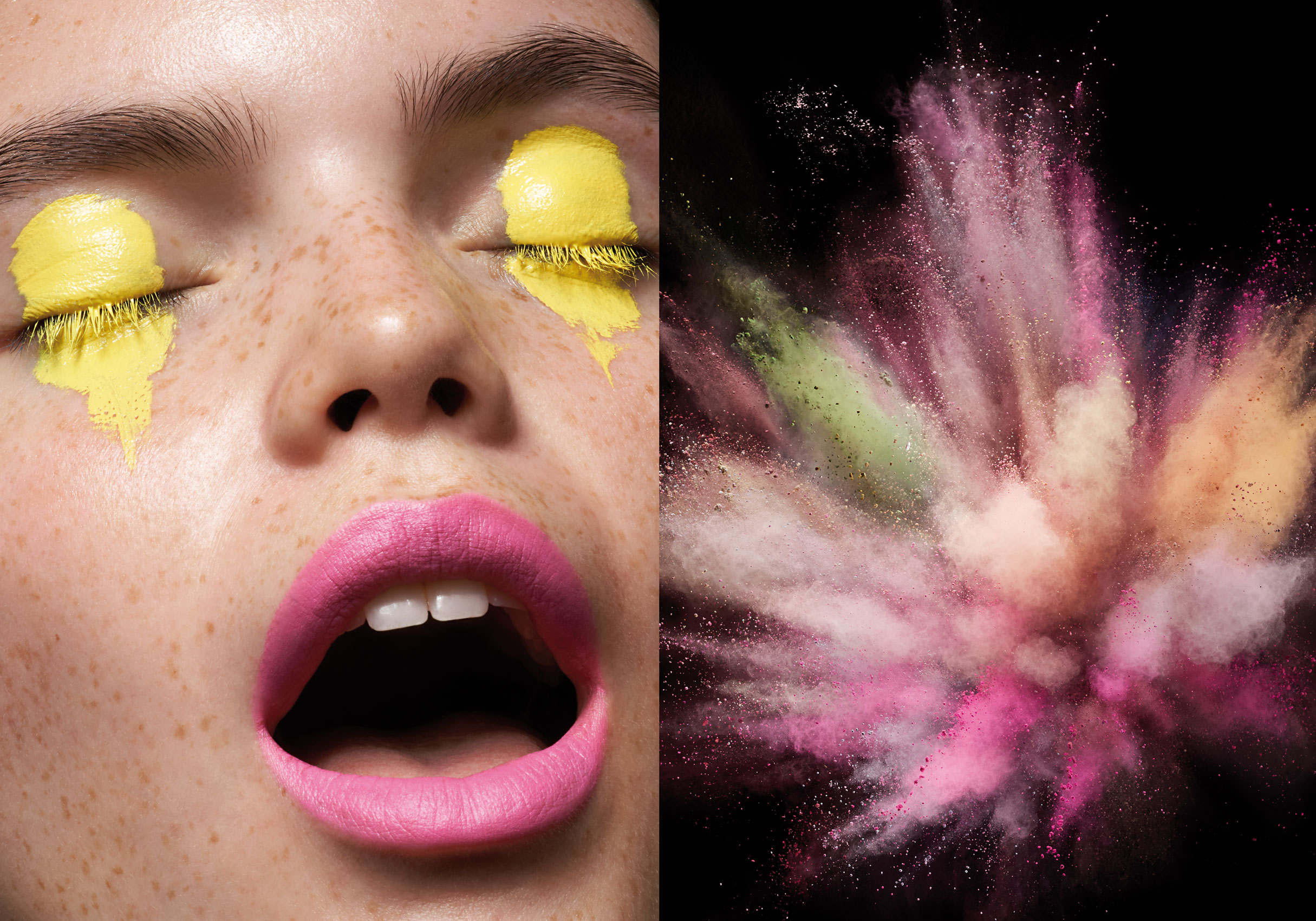 Musilek-Stan-Makeup-Yellow-Lids-Pink-Lips-Powder-Explosion-Editorial-Photographer